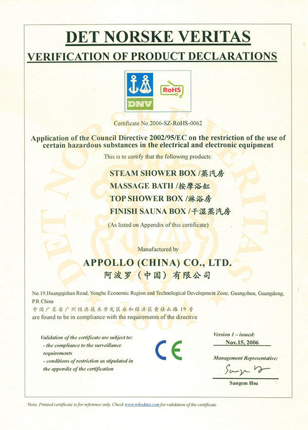 Appollo's EU ROHS certificate