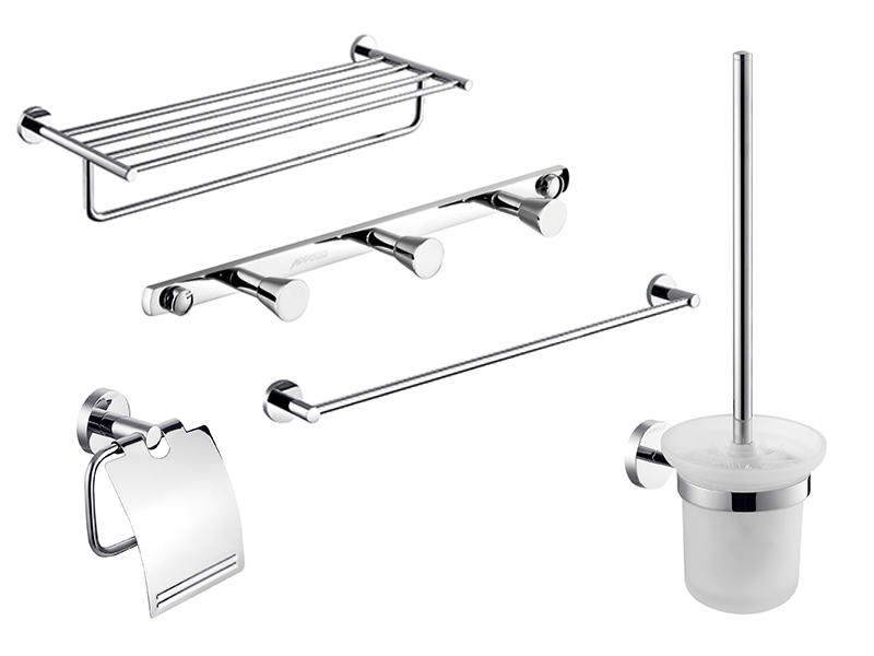 Bathroom Wall Accessories Set 5 Pieces Including Towel Shelf, Clothes hook,Paper Holder, Horizontal Bar, Brush Holder MC-003